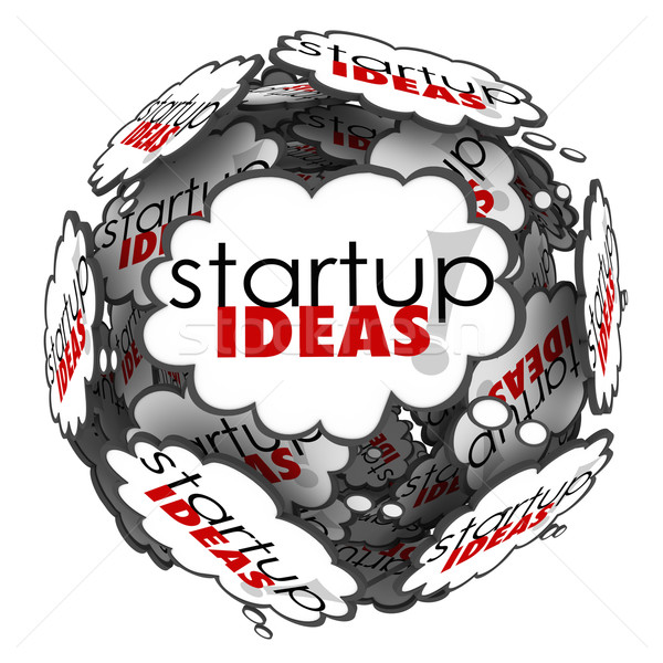 Startup Ideas Thought Cloud Brainstorm New Business Company Laun Stock photo © iqoncept