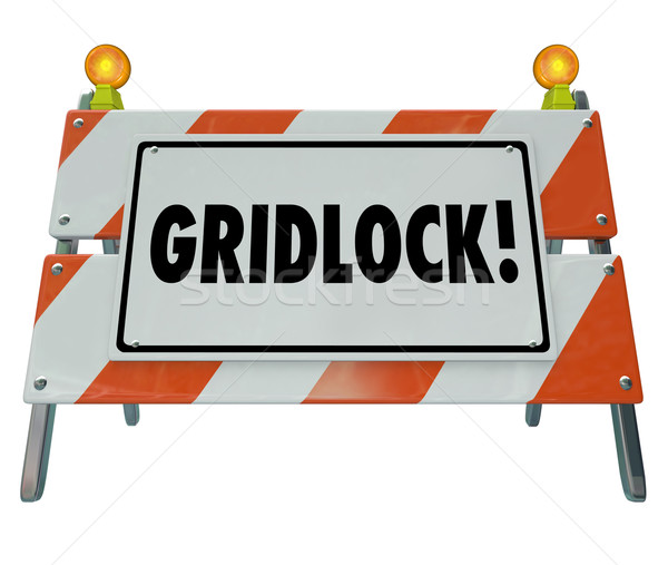 Gridlock Road Barrier Barricade Warning Traffic Sign Stock photo © iqoncept