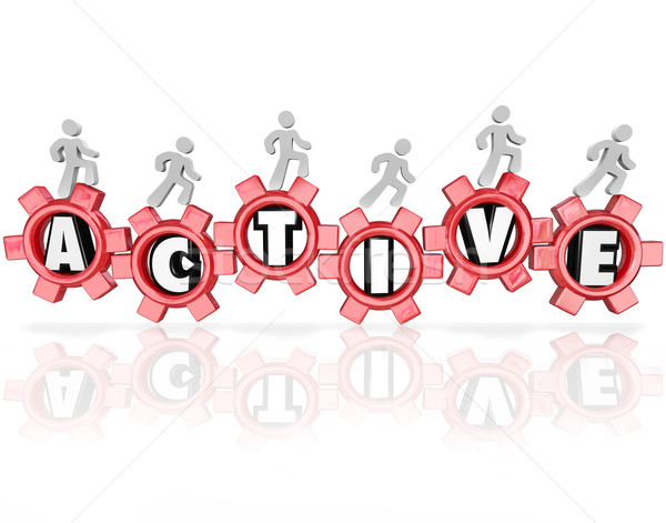 Active Word Gears People Exercising Physical Activity Fitness Stock photo © iqoncept