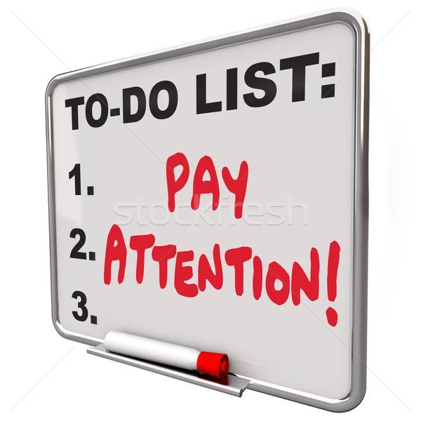 Salaris aandacht bericht boord aandachtig bewustzijn Stockfoto © iqoncept