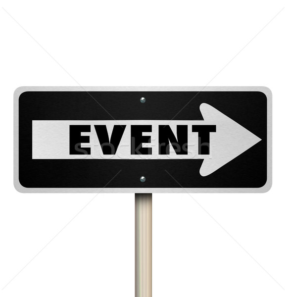 Event Word One Way Road Street Sign Stock photo © iqoncept