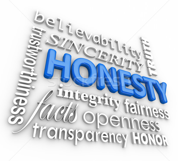 Honesty Sincerity 3d Word Collage Reputation Integrity Virtues Stock photo © iqoncept