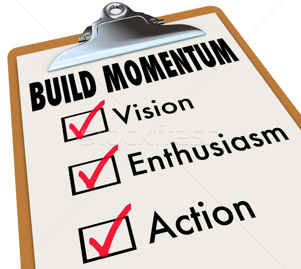 Construir impulso portapapeles movimiento adelante Foto stock © iqoncept