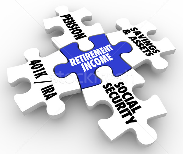 Retirement Income Puzzle Pieces Pension IRA 401K Social Security Stock photo © iqoncept