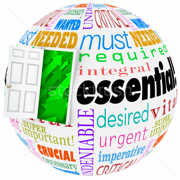 Essential Words Sphere World Wants Needs Crucial Vital Open Door Stock photo © iqoncept