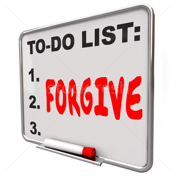 Stock photo: Forgive Word Written To Do List Board Grace Absolve Excuse Forge