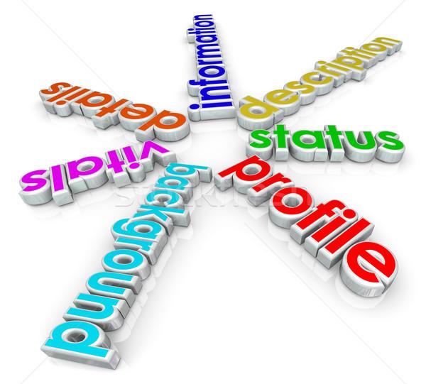 Profil információ részletek állapot 3D szavak Stock fotó © iqoncept