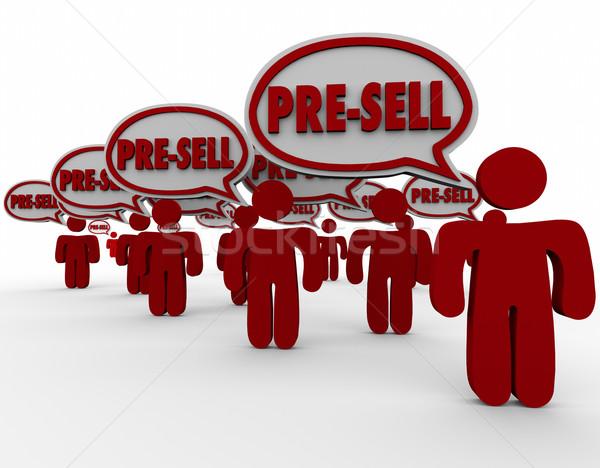 Rendelés emberek vásárlók szövegbuborékok vásár szó Stock fotó © iqoncept