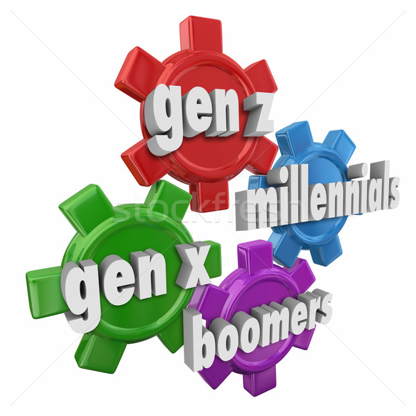 Generation Z Y X Boomers Millennials 3d Word Gears Demographics Stock photo © iqoncept