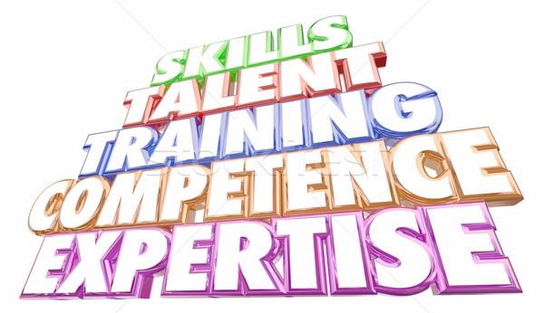 Competenze formazione esperienza competenza parole illustrazione 3d Foto d'archivio © iqoncept