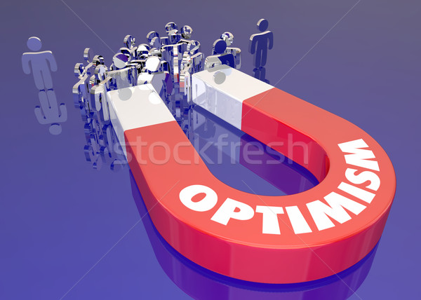 Optimism Magnet Attracting People Word 3d Illustration Stock photo © iqoncept