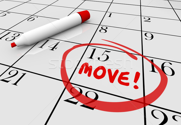 Move Date Day Moving Relocation Calendar Word Circled 3d Illustr Stock photo © iqoncept
