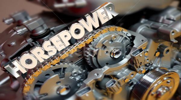 Horsepower Engine Vehicle Fast Speed Energy Word 3d Illustration Stock photo © iqoncept