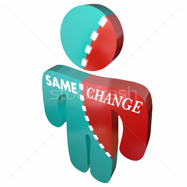 Same Vs Change Different Adapt New Innovate Person 3d Illustrati Stock photo © iqoncept