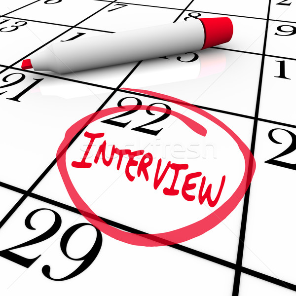 Stock photo: Interview Day Circled on Calendar - Meet New Employer