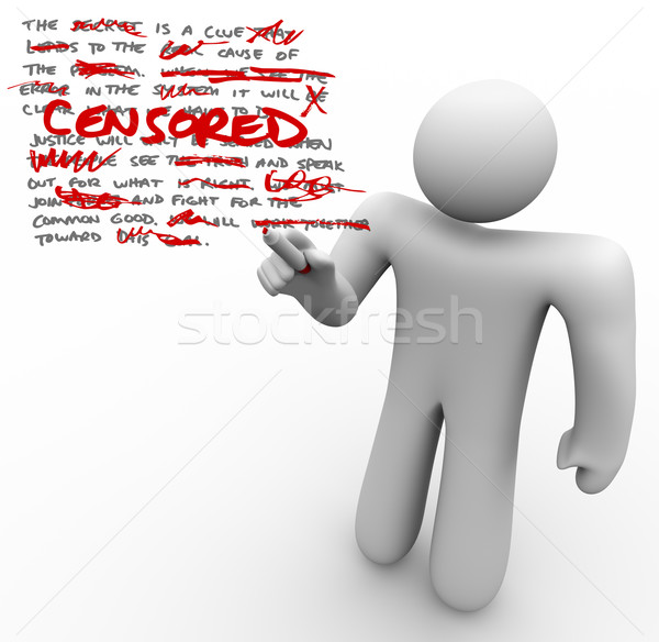Censored - Man Edits Text Censoring Freedom of Speech Stock photo © iqoncept