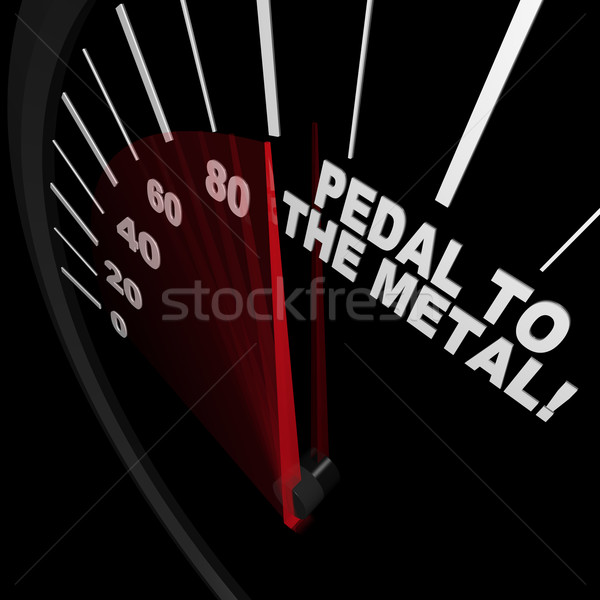 Speedometer - Pedal to the Metal Faster to Reach Goal Stock photo © iqoncept