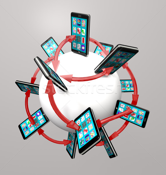 Smart Phones and Apps Global Communication Network Stock photo © iqoncept