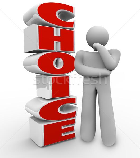Választás gondolkodik személy vmi mellett szó döntés Stock fotó © iqoncept
