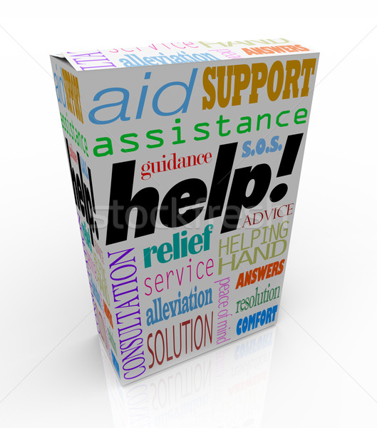 Help Assistance Words on Product Box Customer Support Stock photo © iqoncept