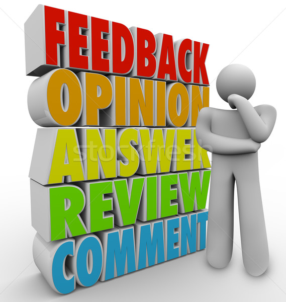 Thinking Person Feedback Comment Review Answer Opinion Stock photo © iqoncept