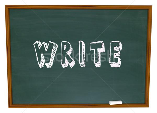 Scrivere parola lavagna gesso iscritto scuola Foto d'archivio © iqoncept