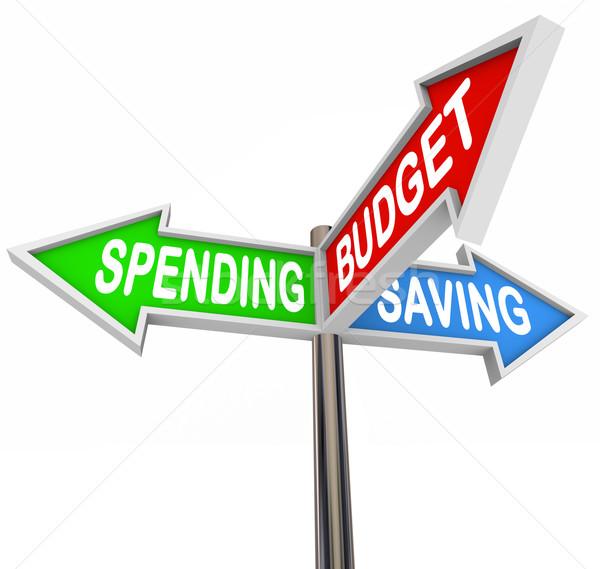 Takarékosság költségvetés három jelzőtáblák nyilak mutat Stock fotó © iqoncept