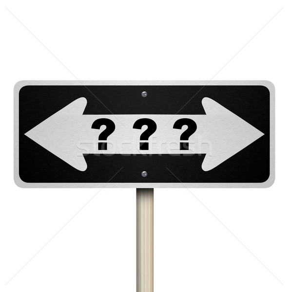 Stock photo: Question Mark Road Sign - Isolated