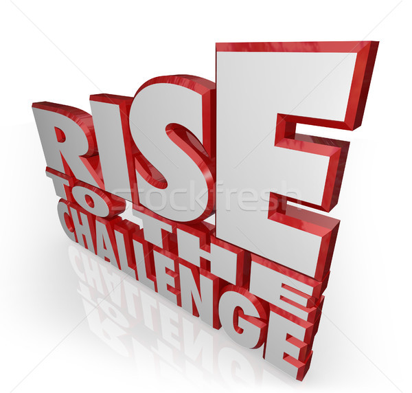 Rise to the Challenge 3d Words Bravery Courage Stock photo © iqoncept