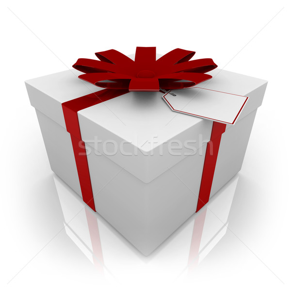 Foto stock: Blanco · presente · rojo · arco · etiqueta · caja · de · regalo