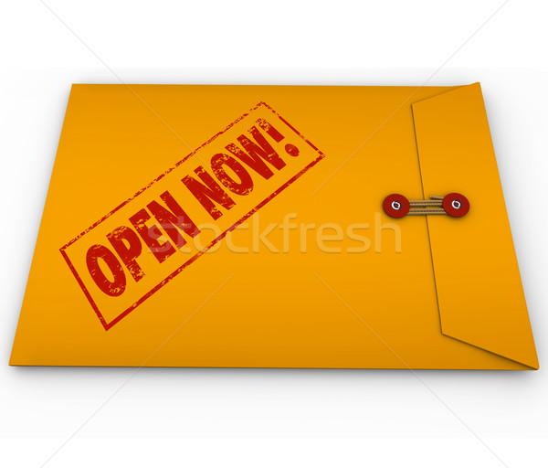 Otwarte teraz słowa żółty kopercie ważny Zdjęcia stock © iqoncept