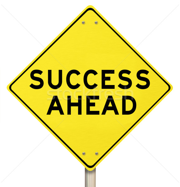 Yellow Road Sign - Success Ahead - Isolated Stock photo © iqoncept