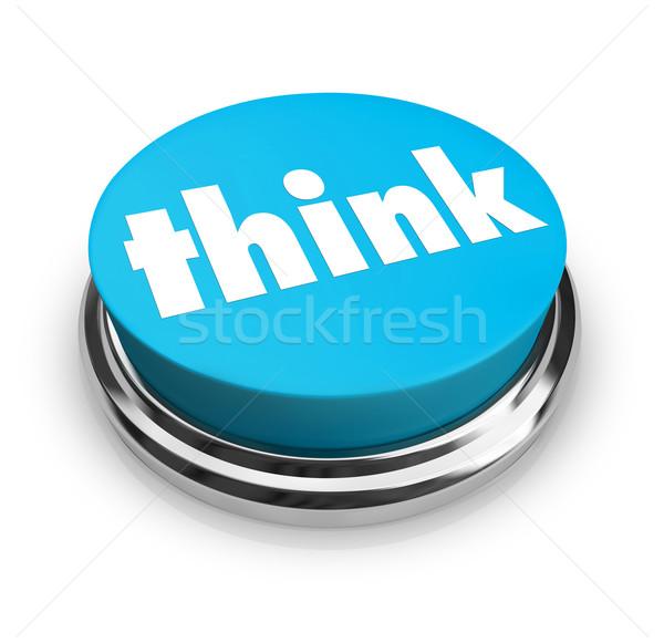 Think - Blue Button Stock photo © iqoncept