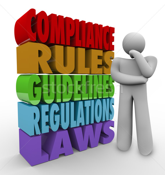 Compliance Rules Thinker Guidelines Legal Regulations Stock photo © iqoncept