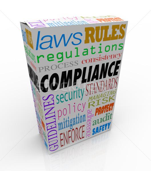 Conformidad palabra producto servicio paquete leyes Foto stock © iqoncept