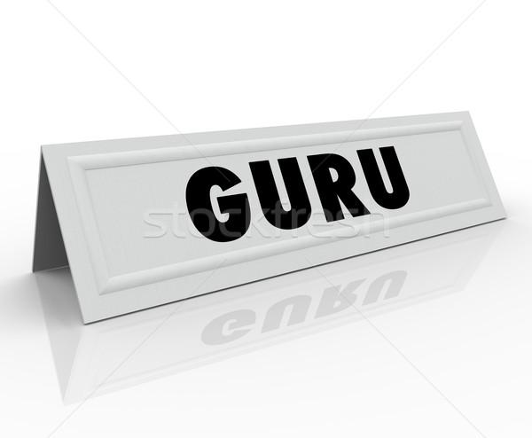 Guru Name Tent Card Expert Master Teacher Guide Speaker Stock photo © iqoncept