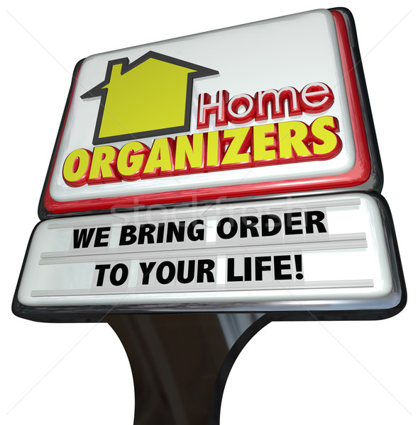 Home Organizers Store Sign Service House Cleaning Order Stock photo © iqoncept