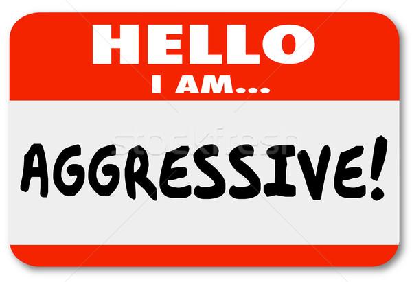 Agressivo olá adesivo palavras Foto stock © iqoncept