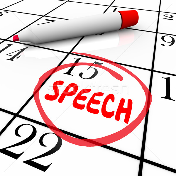 Speech Date Circled Calendar Important Speaking Engagement Remin Stock photo © iqoncept