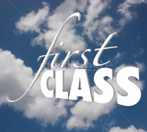 Első osztály 3D szavak felső szint szolgáltatás Stock fotó © iqoncept