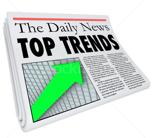 Top Trends Newspaper Headline Story Article Report Popular Produ Stock photo © iqoncept