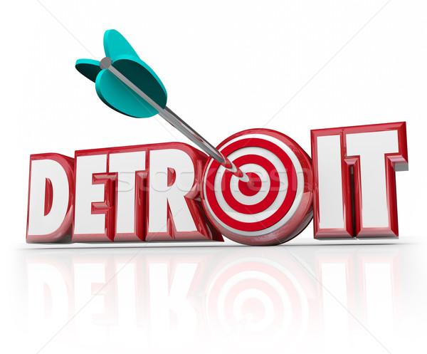 Foto stock: Detroit · palavra · seta · alvo · motor