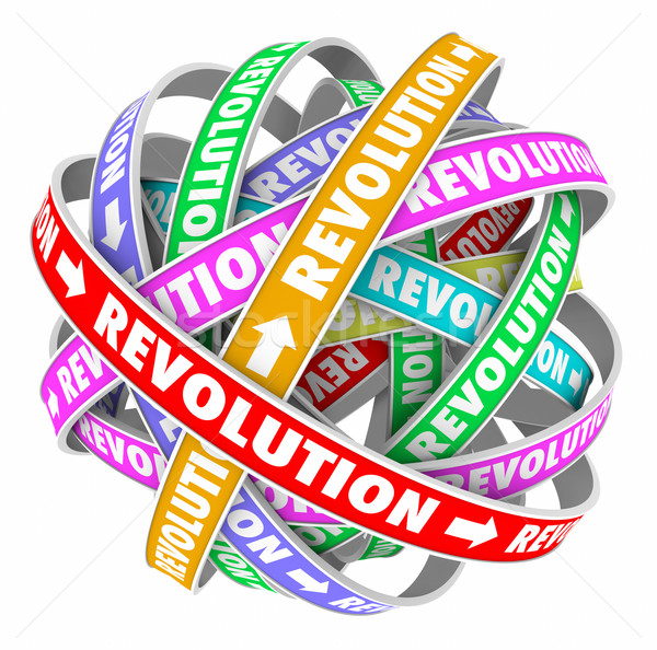 Revolutie woorden cyclus verandering innovatie evolutie Stockfoto © iqoncept
