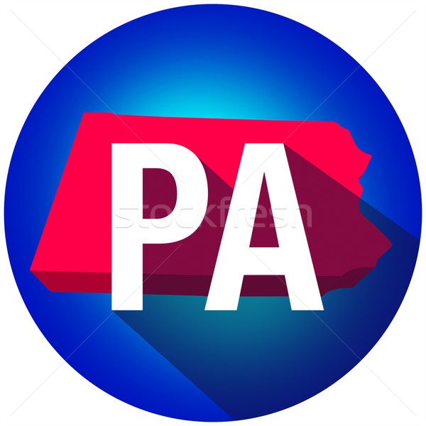 Pennsylvania PA Letters Abbreviation Red 3d State Map Long Shado Stock photo © iqoncept