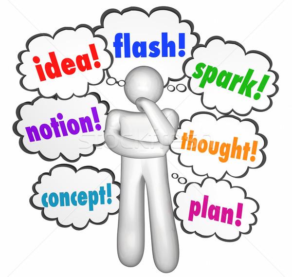 Idea pensiero pensiero creativo nubi pensatore immaginazione Foto d'archivio © iqoncept