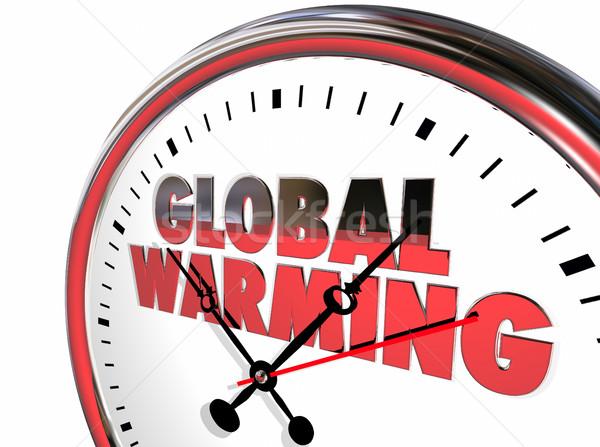 Globalne ocieplenie zegar zmiany klimatyczne 3D 3d ilustracji Zdjęcia stock © iqoncept