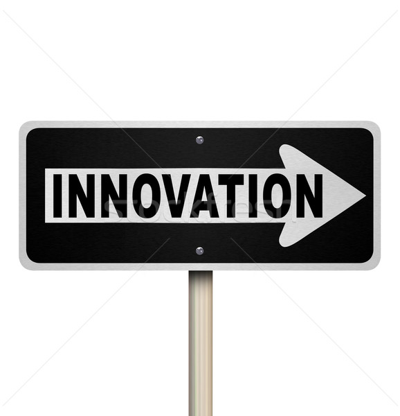 Innovation Road Sign Points Way to Innovative Invention Stock photo © iqoncept