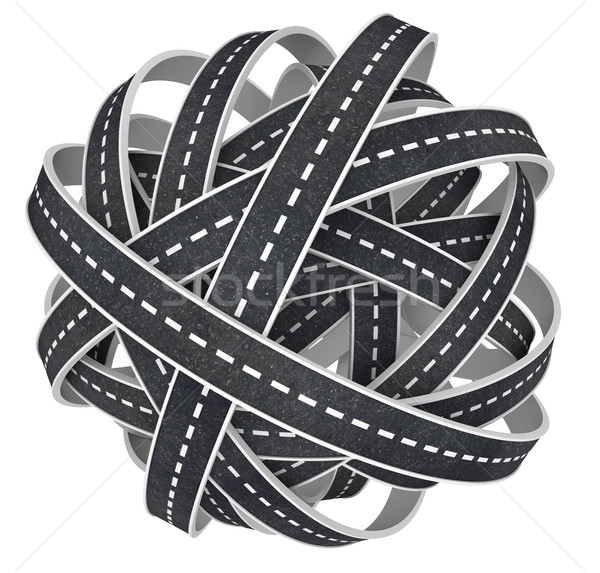 Congested Tangled Ball of Roads 3D Illustration  Stock photo © iqoncept