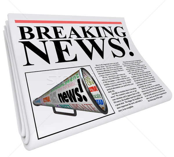 Stock photo: Breaking News Newspaper Front Page Announcement