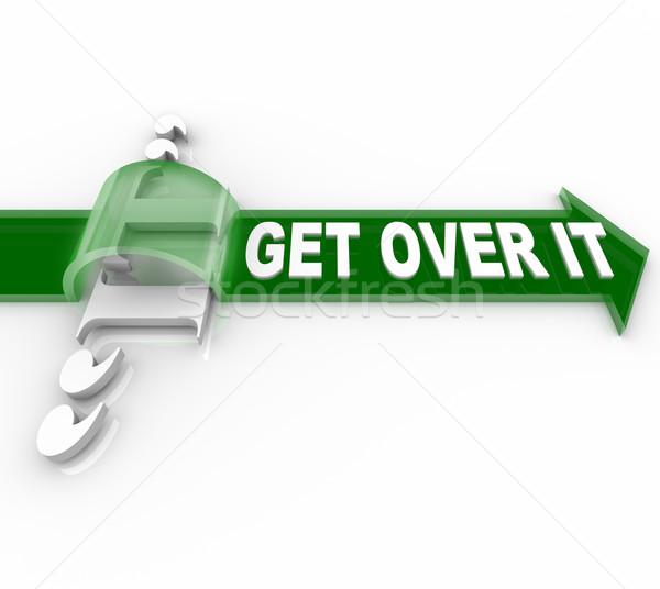 Get Over It Words Arrow Overcome Obstacle Stock photo © iqoncept